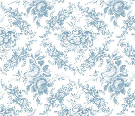 Lady Mary's Roses Blue Toile fabric by grafixmom on Spoonflower - custom fabric