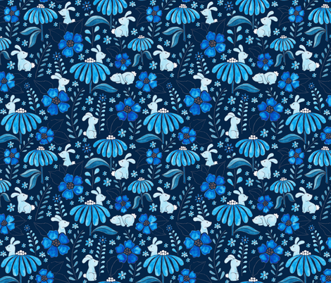 Bunny Floral - blue fabric by jenuine_designs on Spoonflower - custom fabric
