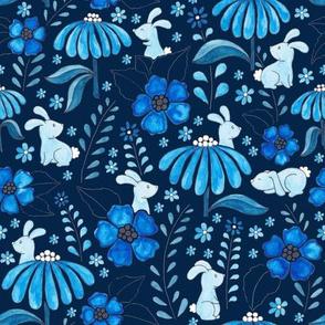 Bunny Floral - blue