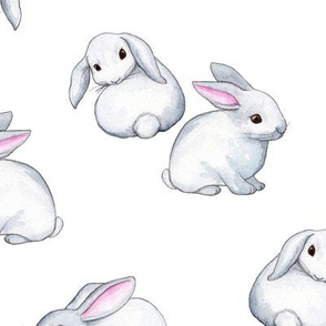 Little White Rabbits with Pink Ears in Watercolor - large version