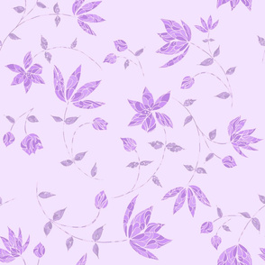 Skeleton Flowers in Violet on Lavender, Monochromatic Scheme