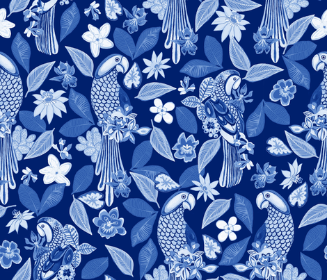 blue parrots  fabric by anchoafabrics on Spoonflower - custom fabric