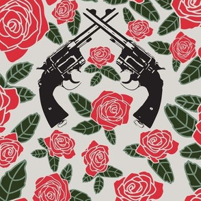 Vintage Revolvers on Red Floral // Large