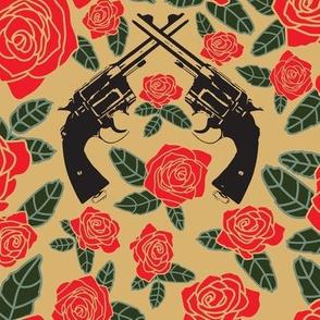 Vintage Revolvers on Red & Tan Floral // Large