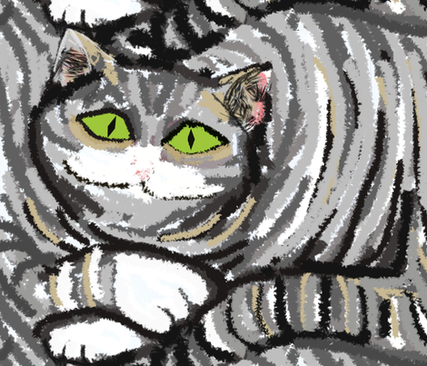 Big Fat Gray Cat fabric by palusalu on Spoonflower - custom fabric
