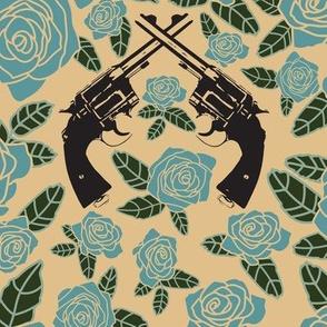 Vintage Revolvers on Teal Floral // Large