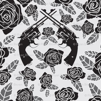 Vintage Revolvers on Black & Grey Floral // Large
