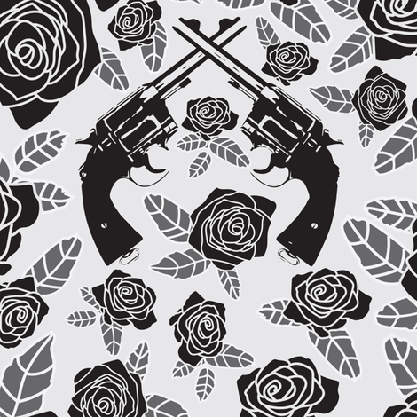 Vintage Revolvers on Black & Grey Floral // Large  fabric by thinlinetextiles on Spoonflower - custom fabric