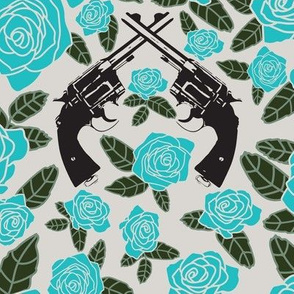 Vintage Revolvers on Blue Floral // Large