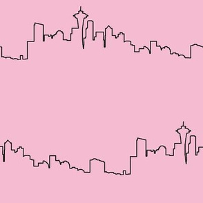 Seattle Skyline on Pink // Large