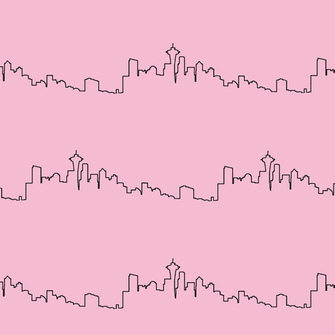 Seattle Skyline on Pink // Small fabric by thinlinetextiles on Spoonflower - custom fabric