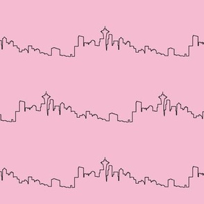Seattle Skyline on Pink // Small