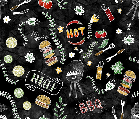 Barbecue Chalkboard fabric by thepeachtree on Spoonflower - custom fabric