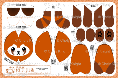 Cut & Sew Ferret Plush Red Panda