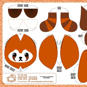 Cut & Sew Ferret Plush Red Panda