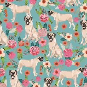 english mastiff florals dog breed fabric blue