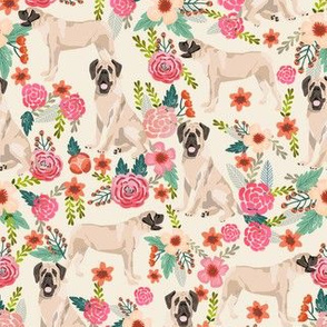 english mastiff florals dog breed fabric cream
