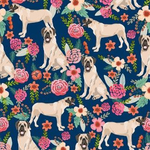 english mastiff florals dog breed fabric navy