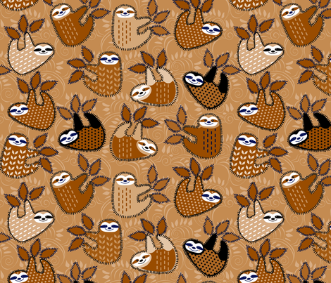happy happy golden sloths fabric by lacy_and_jojo on Spoonflower - custom fabric
