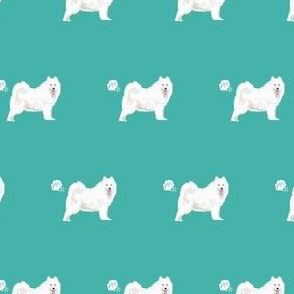 samoyed dog fabric funny fart pure breed pets teal