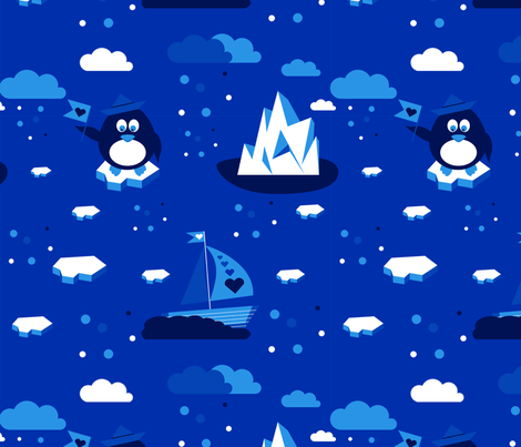 Penquin Blue fabric by betti_bees on Spoonflower - custom fabric