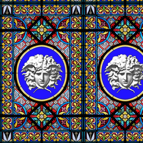 medusa versace inspired  baroque rococo church stained glass windows hearts floral flowers leaf leaves crosses gorgons greek Greece Rome roman mythology victorian