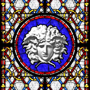medusa versace inspired  baroque rococo church stained glass windows clovers interlinked criss cross interconnected connected cracked blue red yellow leaves leaf trellis victorian