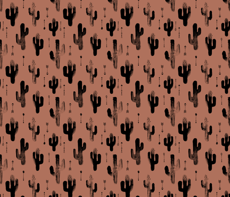 Watercolors ink cactus garden gender neutral geometric arrows cowboy theme autumn copper brown fabric by littlesmilemakers on Spoonflower - custom fabric