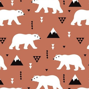 Cute polar bear winter mountain geometric triangle print copper brown autumn