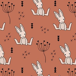 Adorable baby bunny geometric scandinavian style rabbit for kids gender neutral copper brown autumn collection
