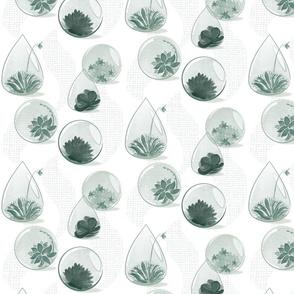 Glass Terrarium in Moss Green
