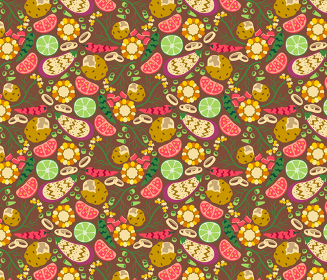 CY. Summer Cookout challenge. Grilled veggies and baked potato fabric by cotsy_yard on Spoonflower - custom fabric