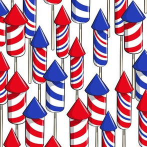 fireworks - white - July 4th fabric