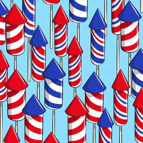 fireworks - light blue - July 4th fabric