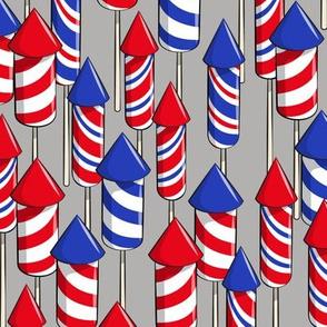 fireworks - grey - July 4th fabric
