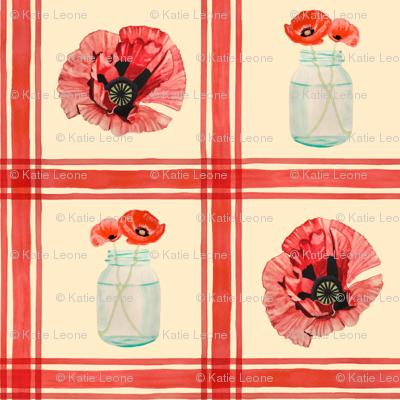 Mason Jar Poppies Large