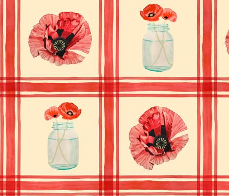 Mason Jar Poppies Large fabric by katieroseleone on Spoonflower - custom fabric
