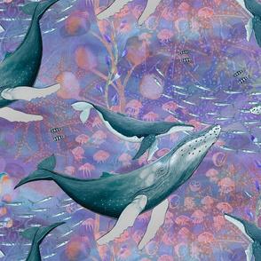 LARGE ELEGANT WHALES AQUATIC BALLET MAUVE OCEAN watercolor