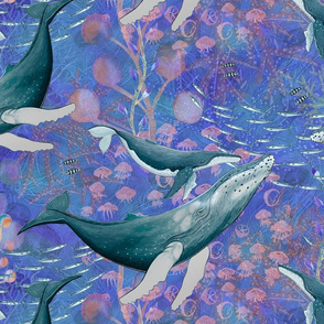 LARGE ELEGANT WHALES AQUATIC BALLET BLUE OCEAN watercolor