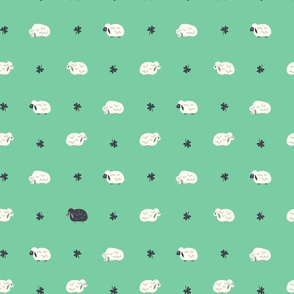 Sheep & Clovers (Green Dots with Black Sheep)