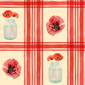 Mason Jar Poppies Plaid Large