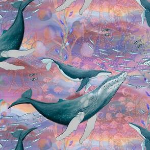 LARGE ELEGANT WHALES AQUATIC BALLET RAINBOW PINK OCEAN