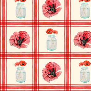 Mason Jar Poppies Medium
