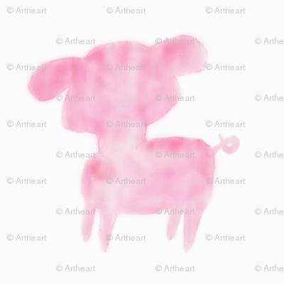 Watercolor Piglet