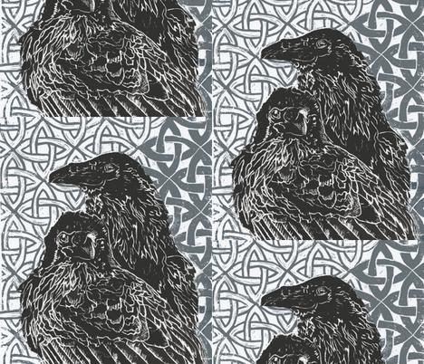 huggin and muninn_  odins ravens  fabric by artist_chloe_birnie on Spoonflower - custom fabric