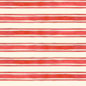 Red Triple Stripes on Cream Horizontal