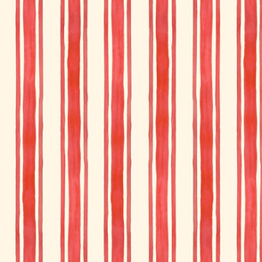 Red Triple Stripes on Cream Vertical