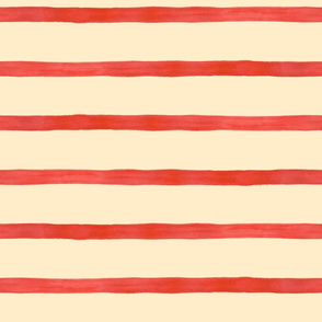 Wide Watercolor Stripes, Red on Cream