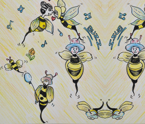 Bees edited fabric by charmainebarber on Spoonflower - custom fabric