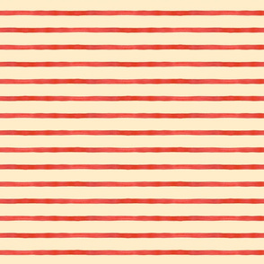 Medium Watercolor Stripes, Red on Cream